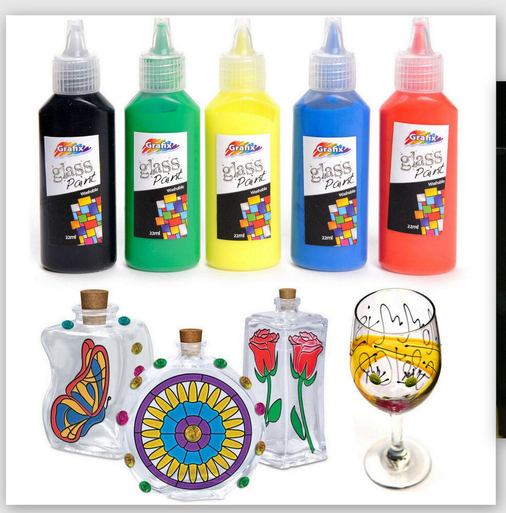 5 pk glass paints vibrant fast drying art craft kids for Fast drying paint for crafts