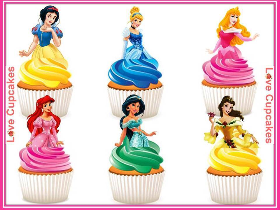 12 Disney Princess Half Body Stand Up Edible Rice Paper