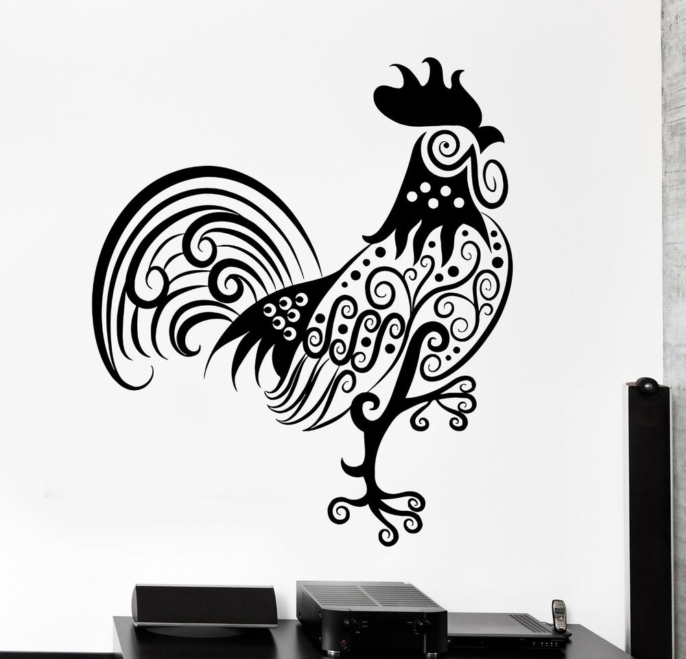 Wall Decal Rooster Cock Animal Ornament Tribal Mural Vinyl