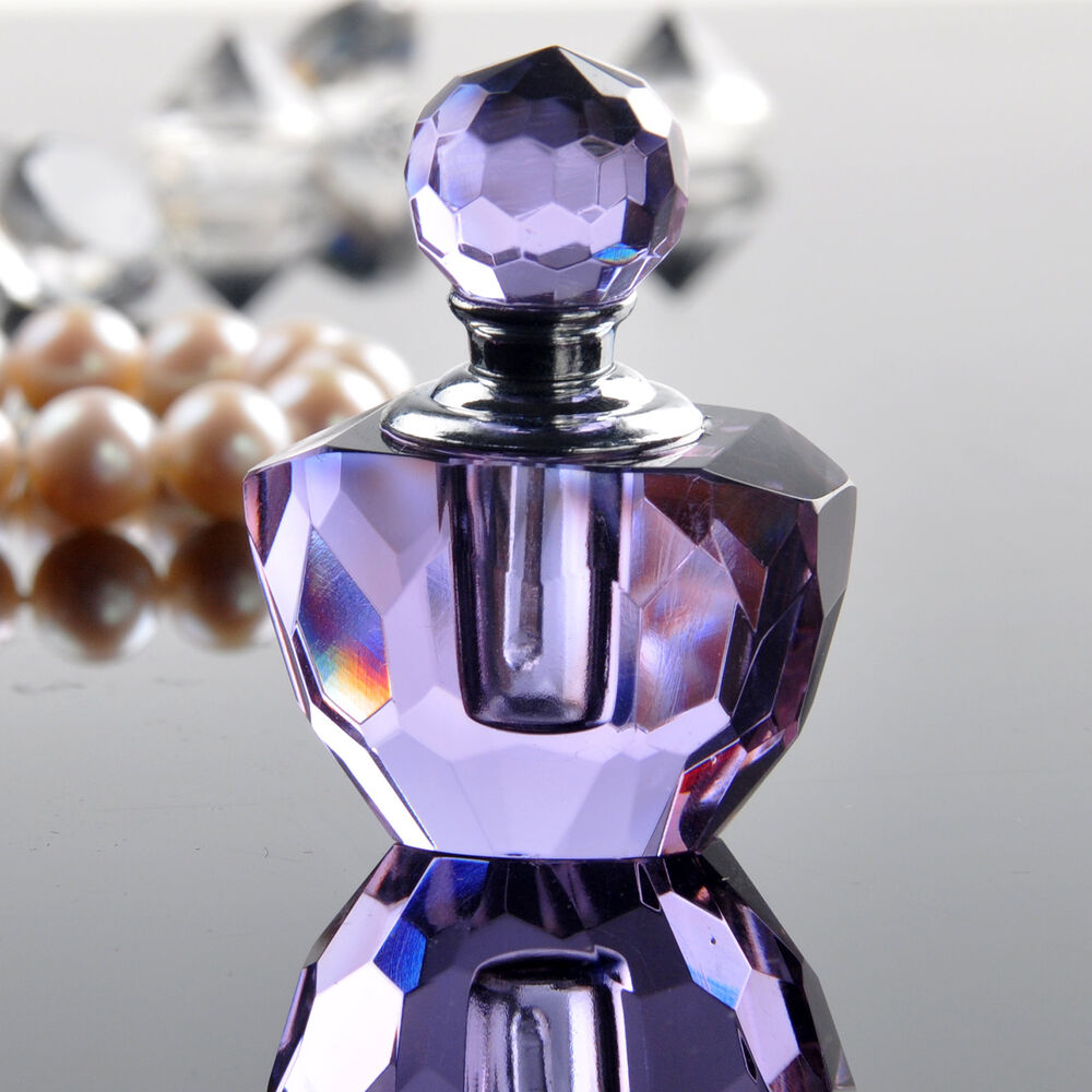 Fragrances Perfume Bottle And Perfume Bottles: Purple Small Crystal Cut Glass Perfume Bottle Fragrance Container Home Decor 1ml