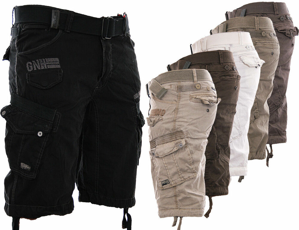 geographical norway herren cargo shorts kurze hose short bermuda g rtel sommer ebay. Black Bedroom Furniture Sets. Home Design Ideas