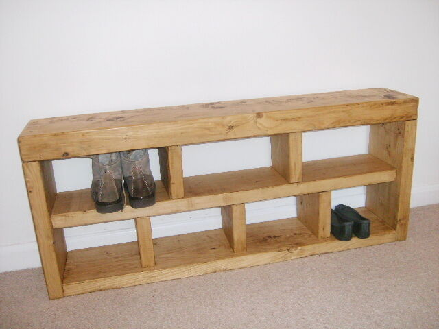 Shoe Rack Hall Bench Storage Seat Handmade Solid Chunky Rustic Pine Wood Ebay