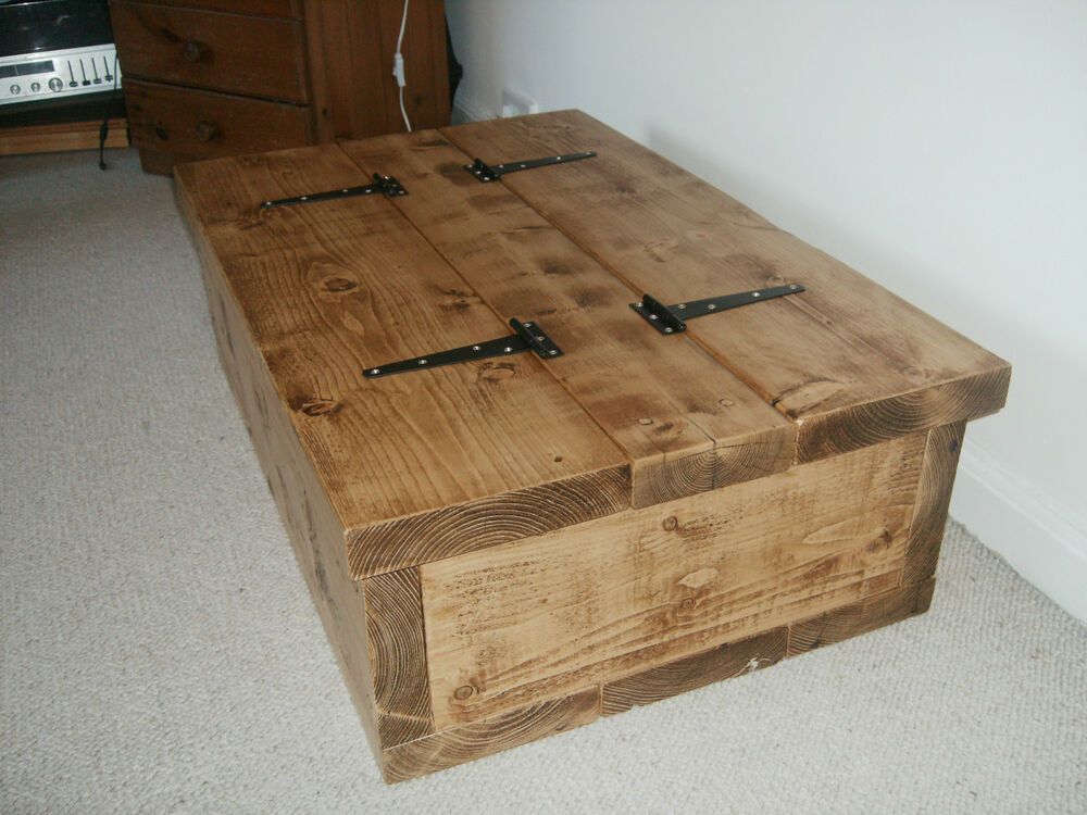 Storage coffee table wood chest beautiful chunky handmade rustic solid pine ebay Coffee table chest with storage
