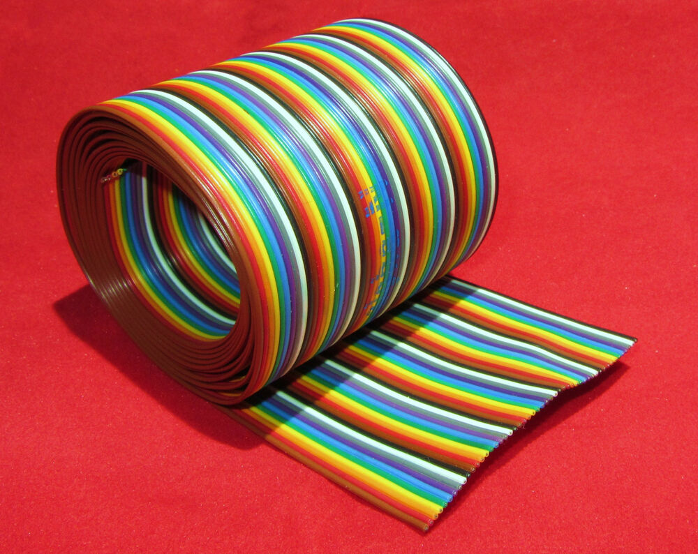 Flat Conductor Ribbon Cable : Foot conductor alpha wire rainbow ribbon cable