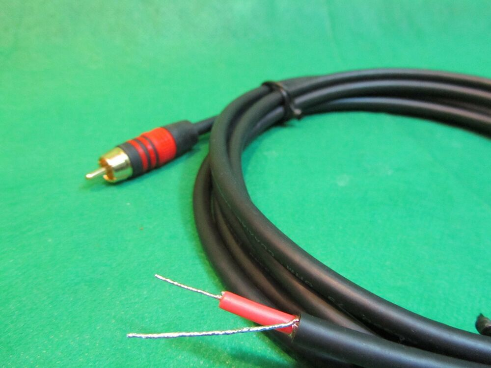 8 Ft DC PRO Speaker Subwoofer Shielded Cable, Gold RCA to Bare Wire ...