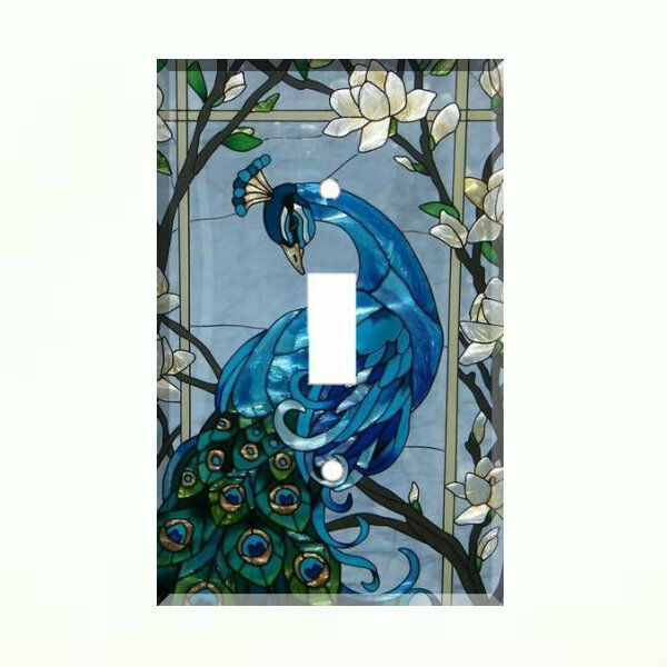 Blue Peacock Light Switch Cover Plate Wall Cover Peacock