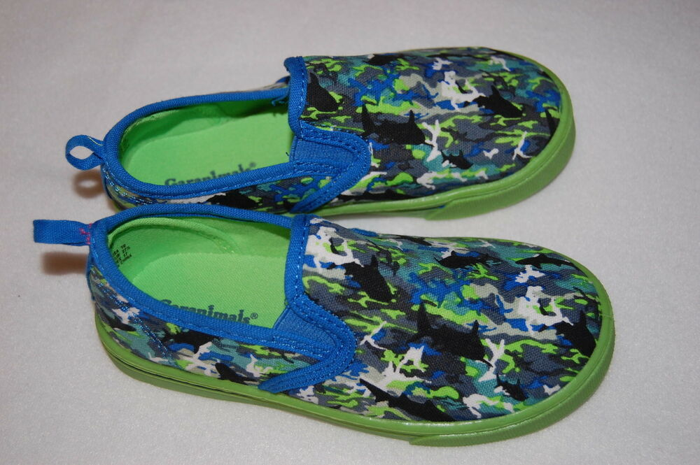 toddler boys shoes canvas slip on bright lime green blue 7
