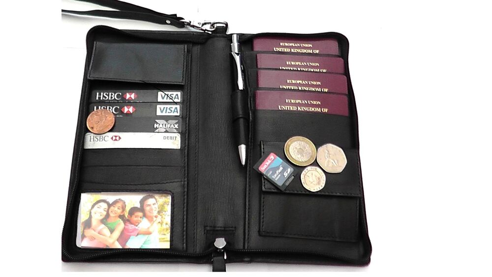 Genuine Leather Travel Wallet Real Leather Family Travel