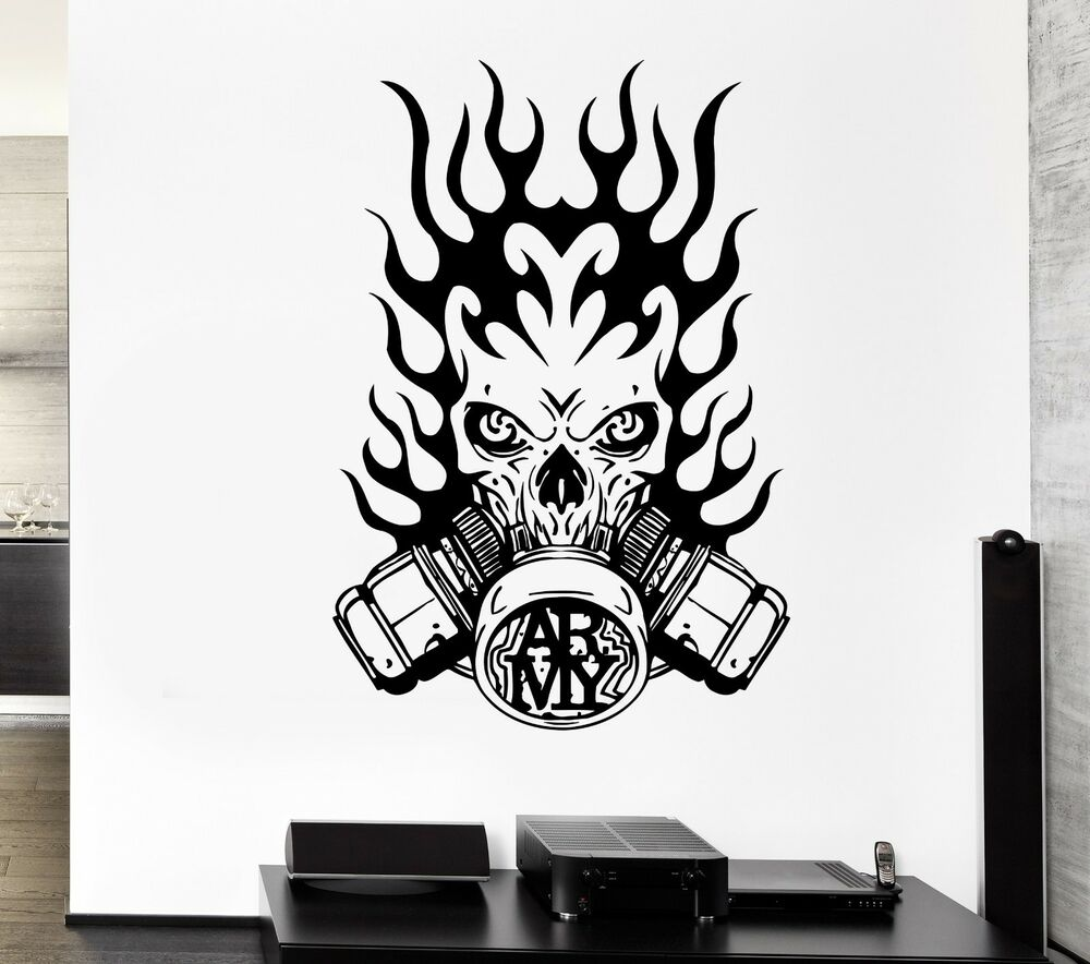 Wall Decal Army Fire Gas Mask Skull Death Soldier Mural