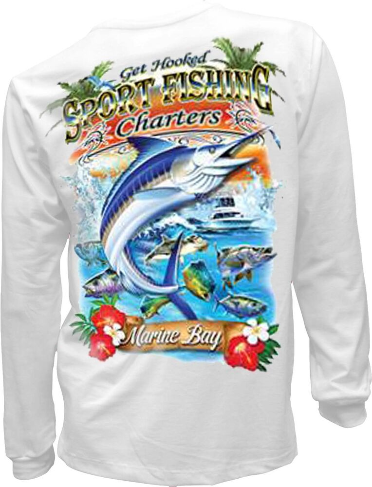 Sport fishing t shirt charter cabo mexico marlin mens long for Mens fishing shirts