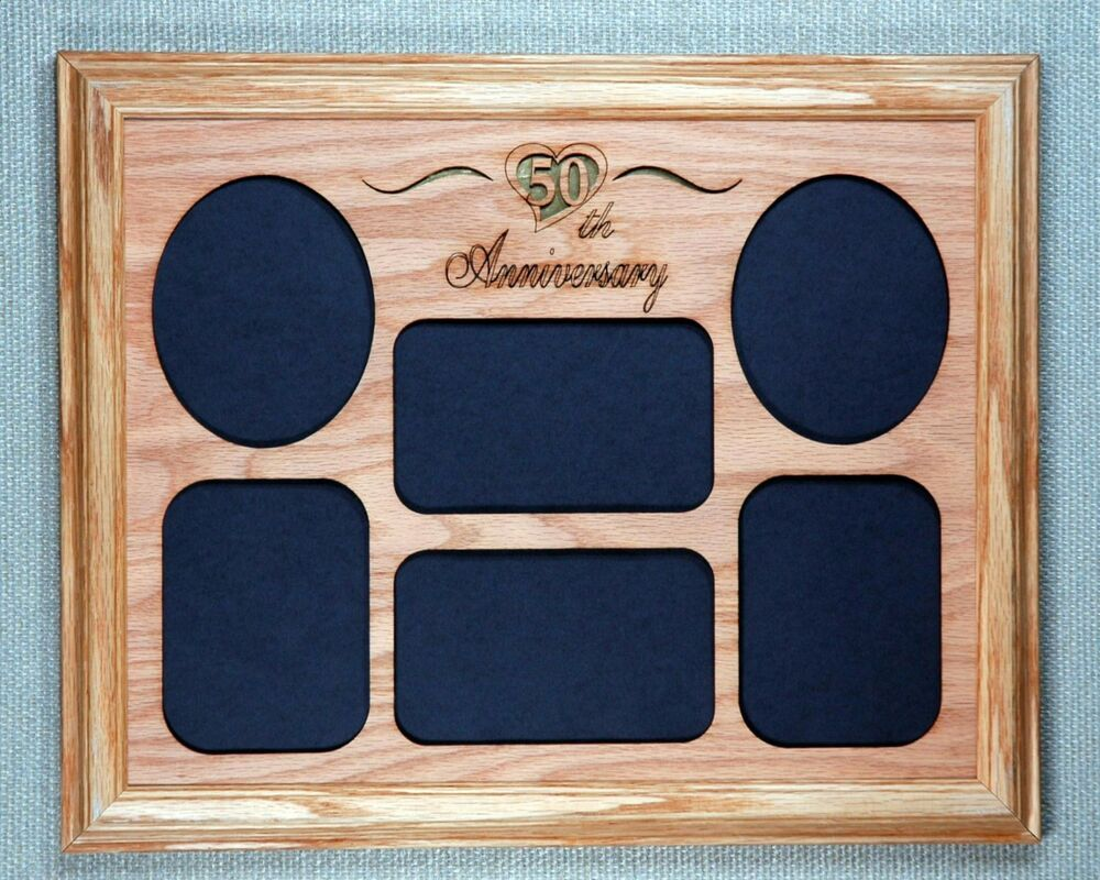 Wedding Anniversary 50th Picture Frame Collage Oak Wood 11x14