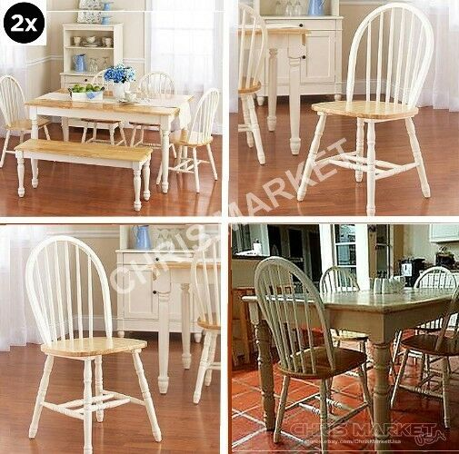 White And Natural Windsor Chairs Dining Room Kitchen Home