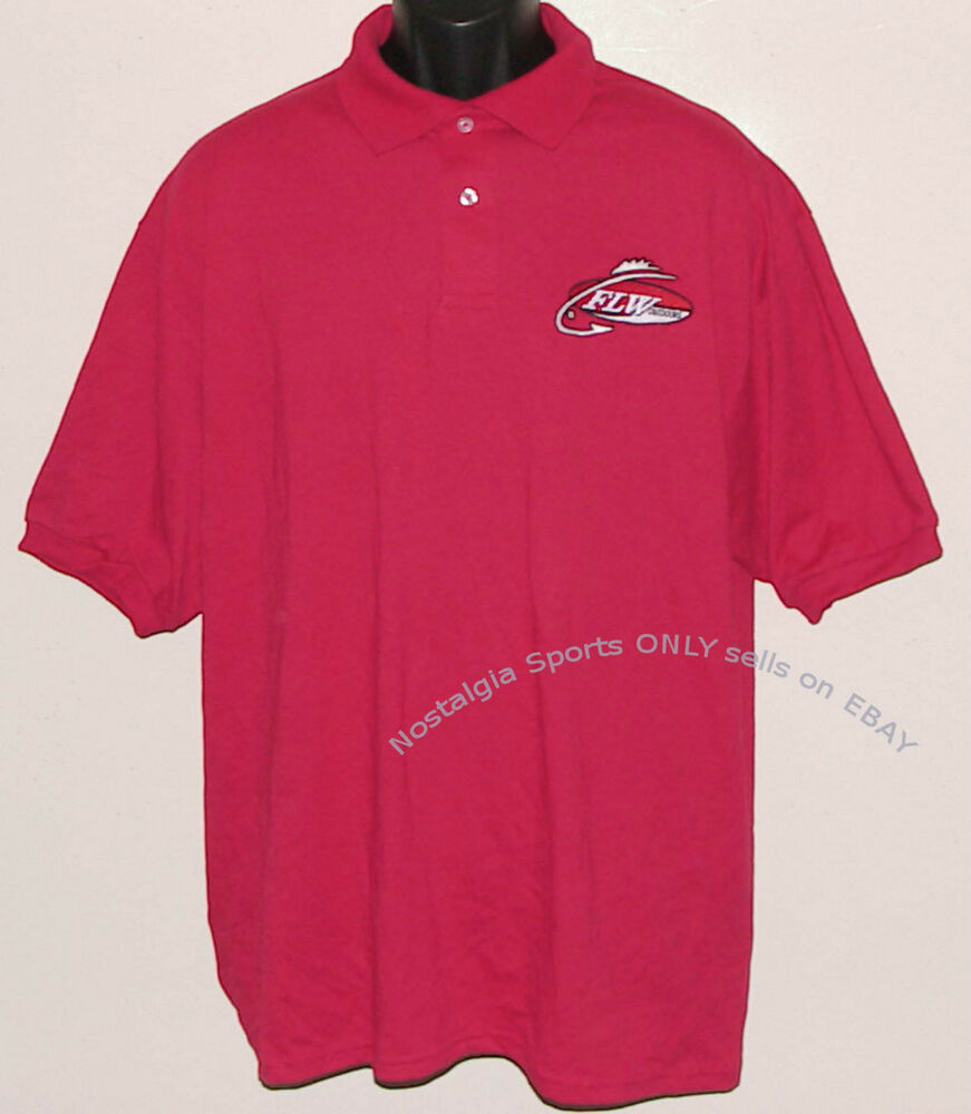 Official flw outdoors polo shirt short sleeve bass fishing for Bass fishing shirt
