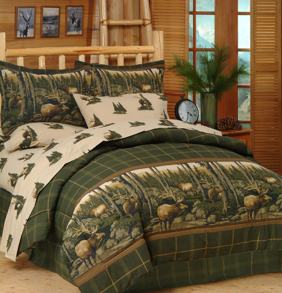 Rocky mountain elk wildlife comforter set sheets bed in for Fish bedding twin