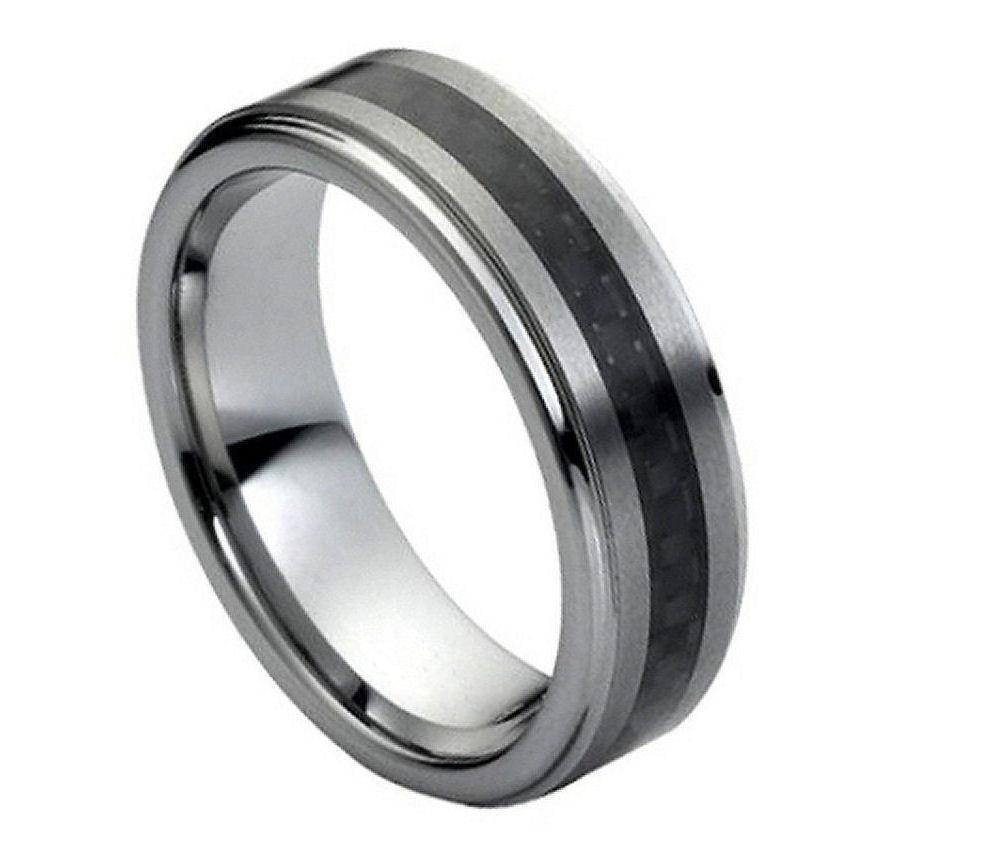tungsten carbide men 39 s wedding band ring 7mm with carbon. Black Bedroom Furniture Sets. Home Design Ideas