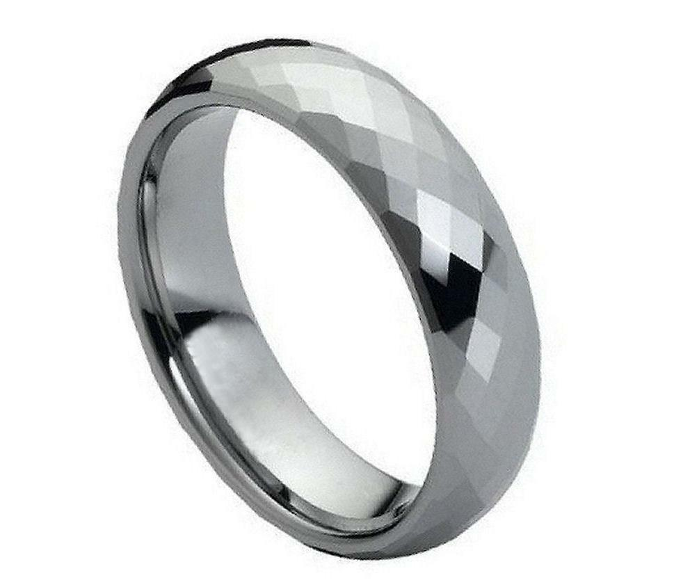 6mm tungsten carbide wedding band domed faceted ring for. Black Bedroom Furniture Sets. Home Design Ideas