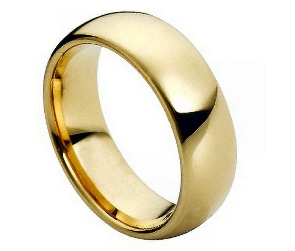 7MM Tungsten Carbide Mens Wedding Band Ring Domed Gold Plated Polished Shiny