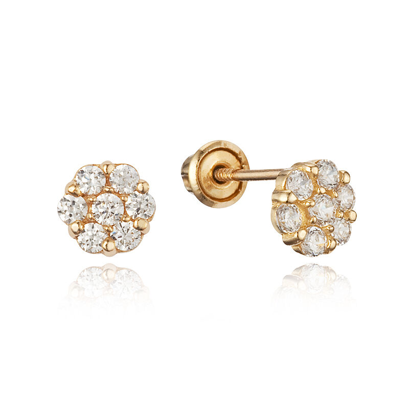 14k Yellow Gold Round Flower CZ Children Screwback Baby ...