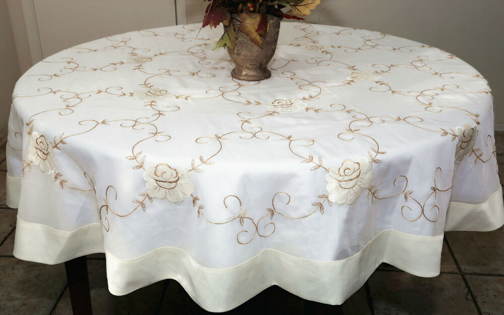 Vintage Sheer Floral Tablecloth White Ivory 72 Quot Round Or