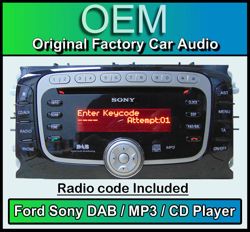 Ford Focus CD MP3 Player With DAB Radio, Ford Sony DAB Car