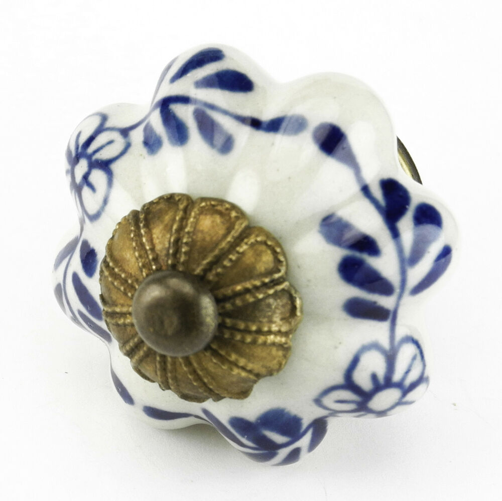 10 pc Blue Floral Ceramic Kitchen Cabinet Hardware Door Knobs and