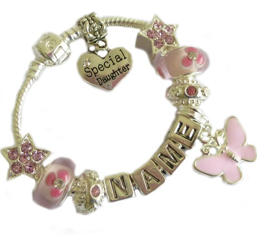 Childrens Charm Bracelet: Childrens Girls ANY NAME Baby Pink Sparkle PERSONALISED