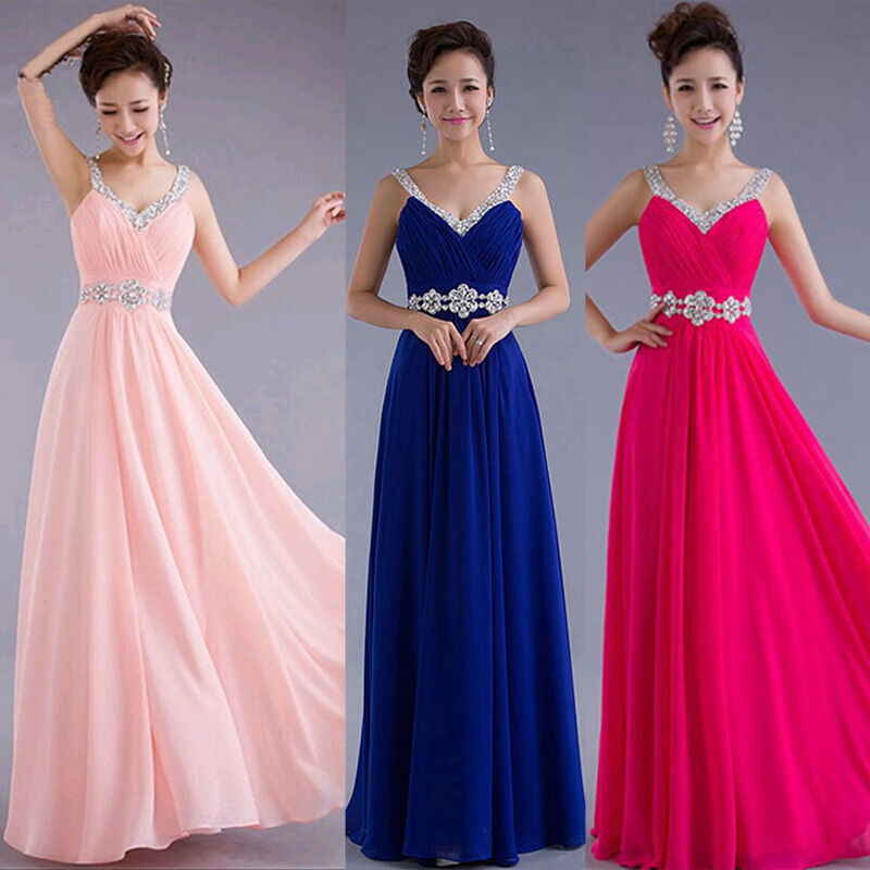 Renaissance Long Pageant Bridesmaids Evening Formal Party: 2015 Women Chiffon Evening Gown Bridesmaid Prom Formal