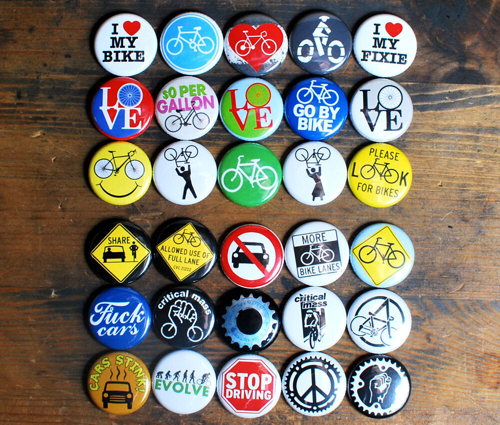 30 x 1 bike buttons critical mass cyclist bicycle fixie. Black Bedroom Furniture Sets. Home Design Ideas