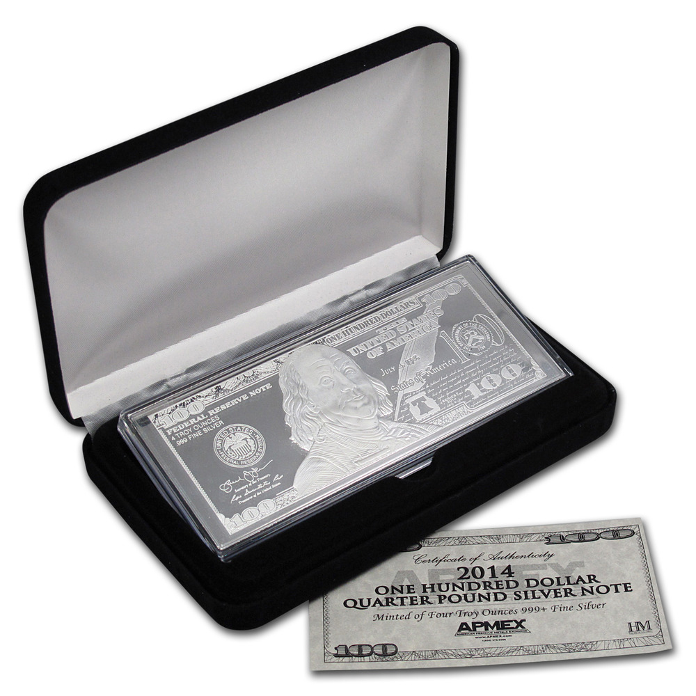 2014 4 Oz 100 Bill Silver Bar With Box And Certificate