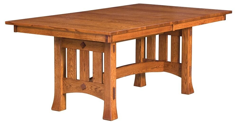 amish mission trestle craftsman dining table chairs set wood rustic
