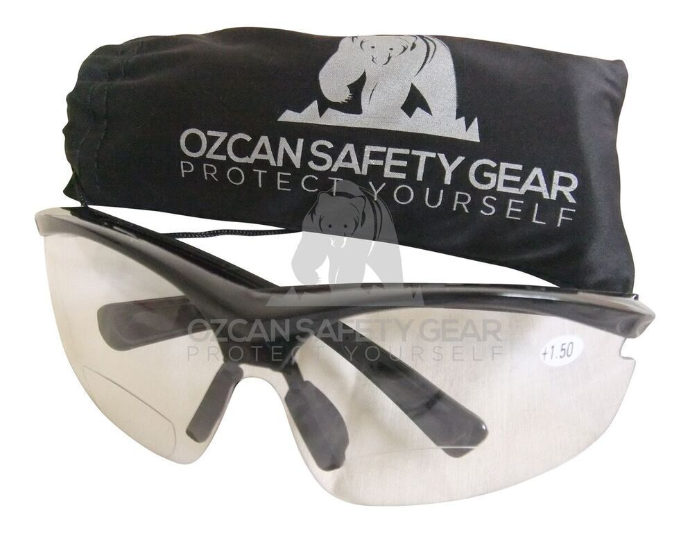 2 x bifocal safety glasses clear lens readers read power