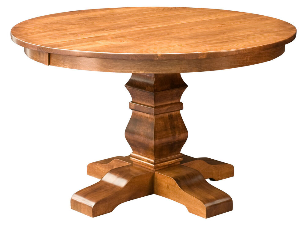 Amish round pedestal dining table solid wood rustic for Dinner table wood