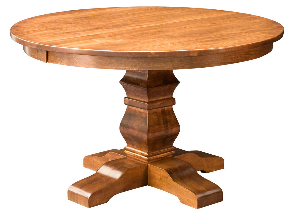 Amish round pedestal dining table solid wood rustic expandable 48 54 new ebay - Pedestal kitchen tables ...