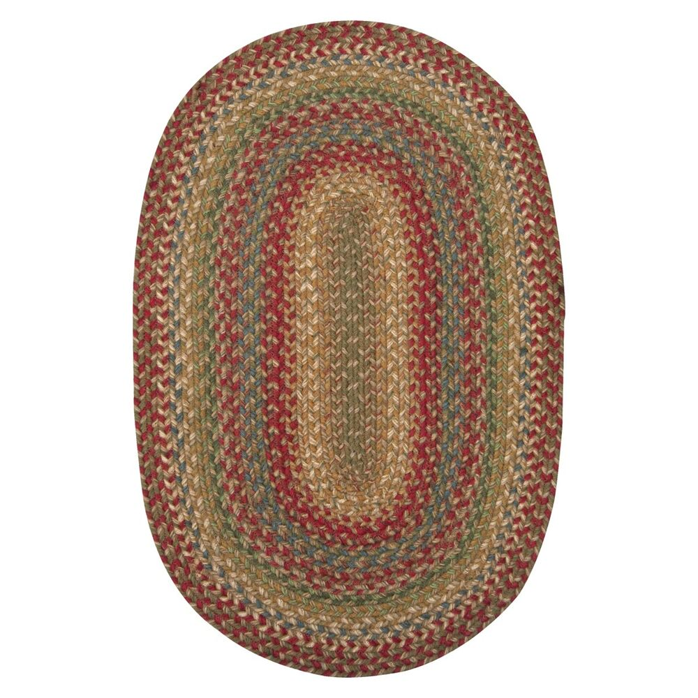 Jute Braided Area Floor Rug Oval Brown Red Rustic Cottage