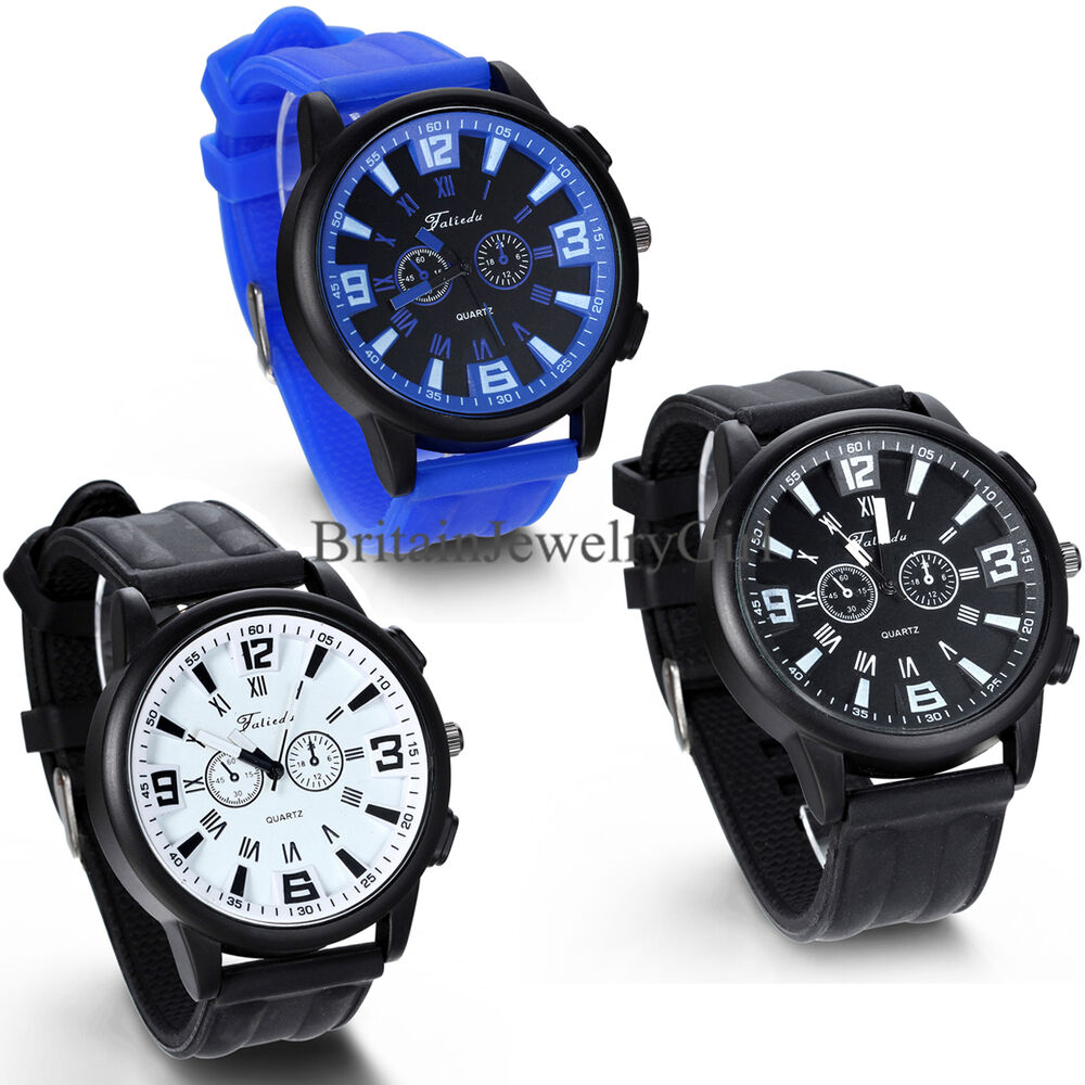 Mens Hot Rubber Silicone Quartz Sports Style Watch Boys ...