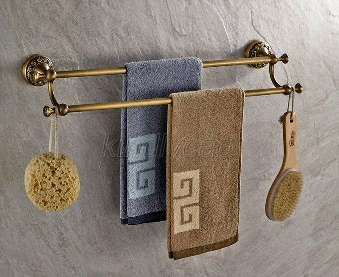 Bathroom Accessory Wall Mounted Antique Brass Double Towel Rack Rail Bar Kba483 Ebay