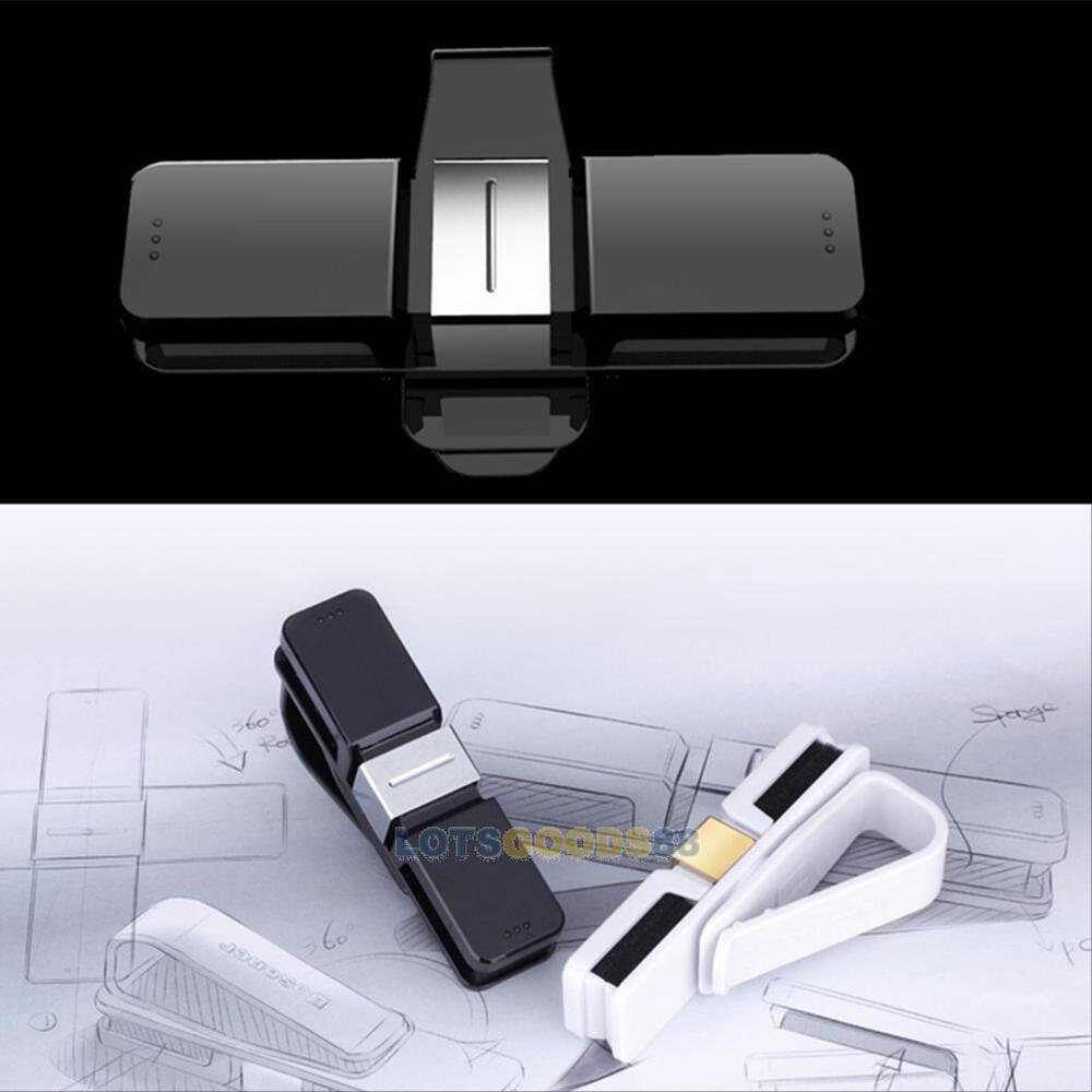 new car auto glasses sunglasses card visor pen business card clip holder black l ebay. Black Bedroom Furniture Sets. Home Design Ideas