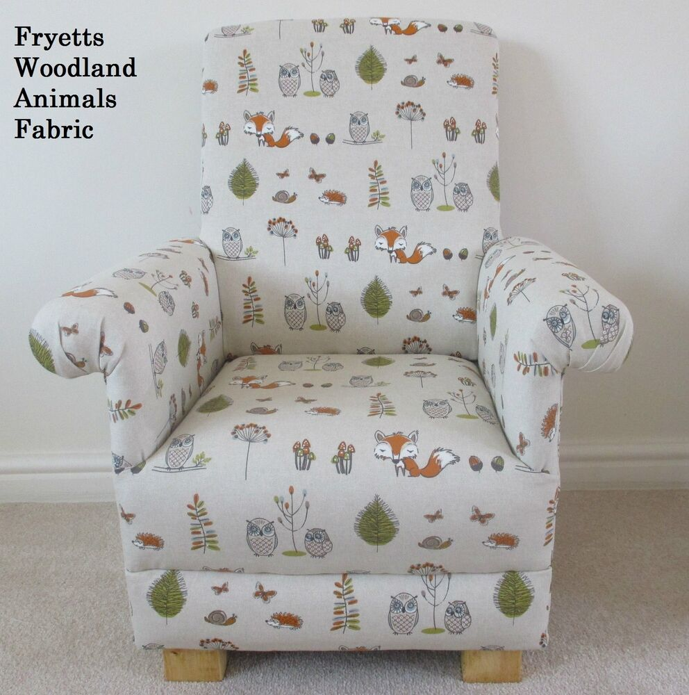 Fryetts Woodland Animals Fabric Child Chair Fox Owl Kids