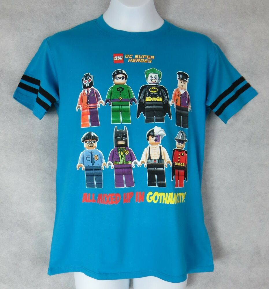 lego dc super heroes boys t shirt new mixed up in gotham. Black Bedroom Furniture Sets. Home Design Ideas