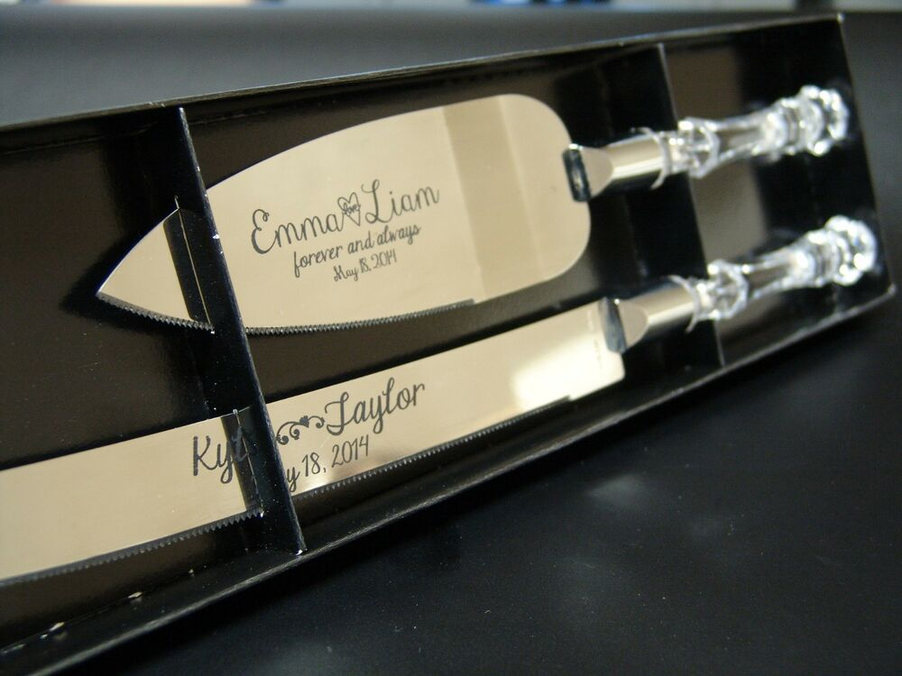 personalized wedding anniversary cake serving set includes knife and server ebay. Black Bedroom Furniture Sets. Home Design Ideas