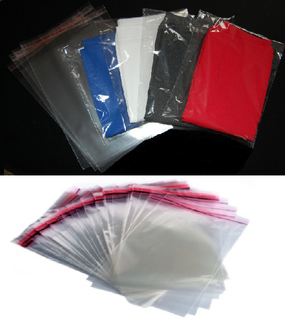 T shirt clear garment bags with adhesive tape for clothing for Clear shirt packaging bags