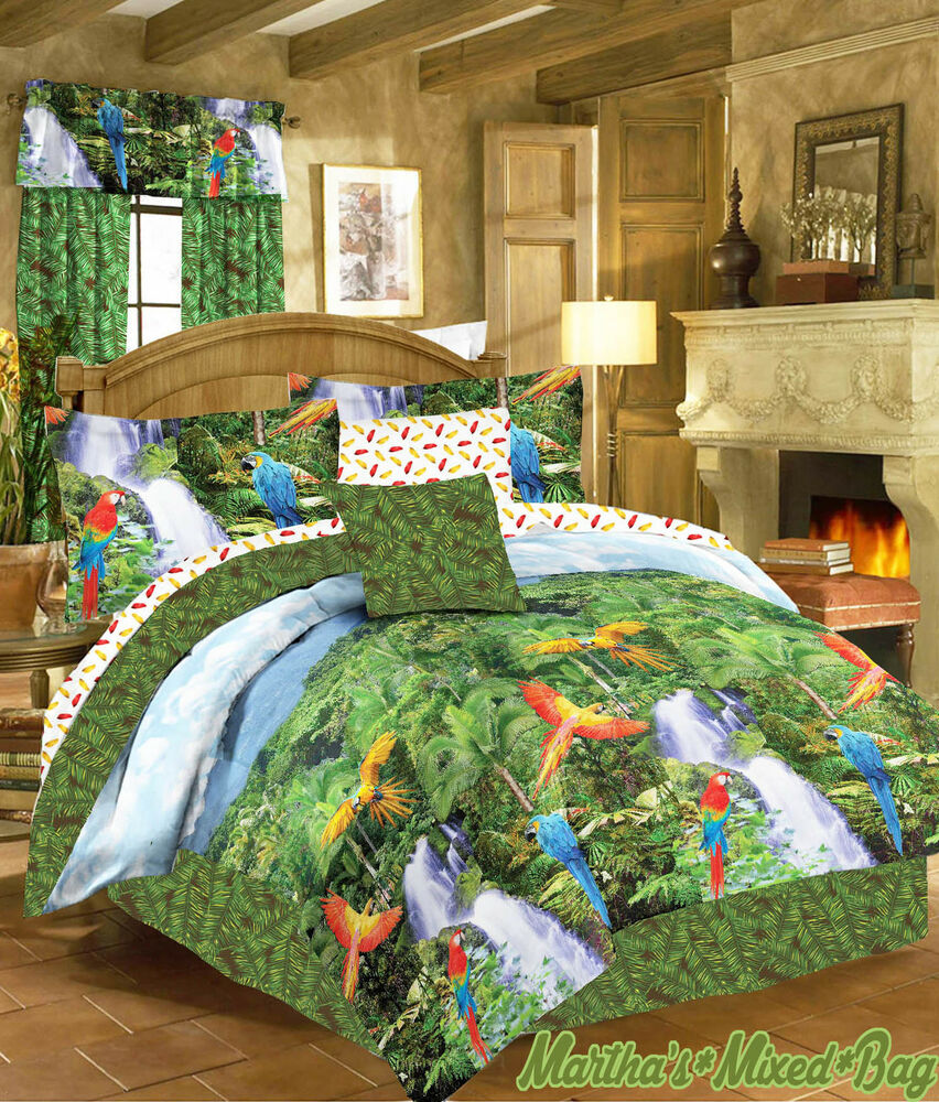 Purple bed sets for full - Tropical Rainforest Palm Leaf Leaves Comforter Bed In A Bag Ebay