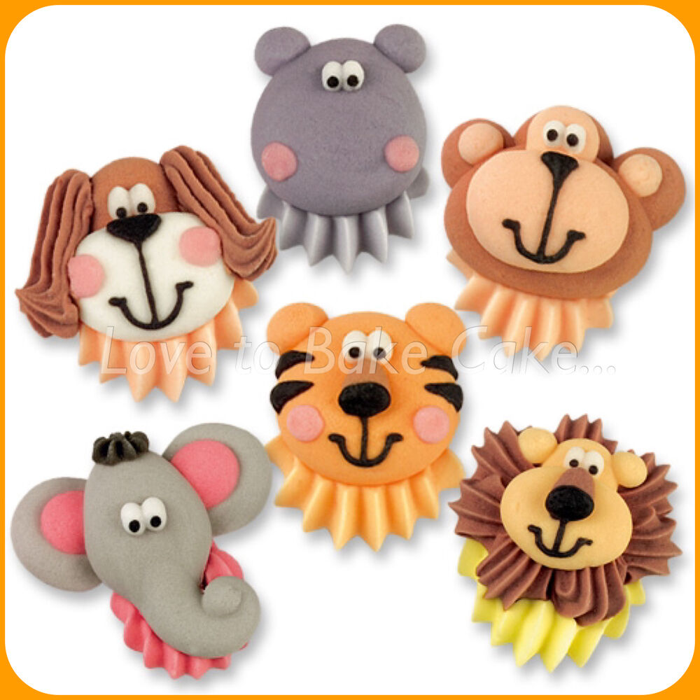 Edible sugar jungle animal faces cupcake toppers edible for Animal print edible cake decoration