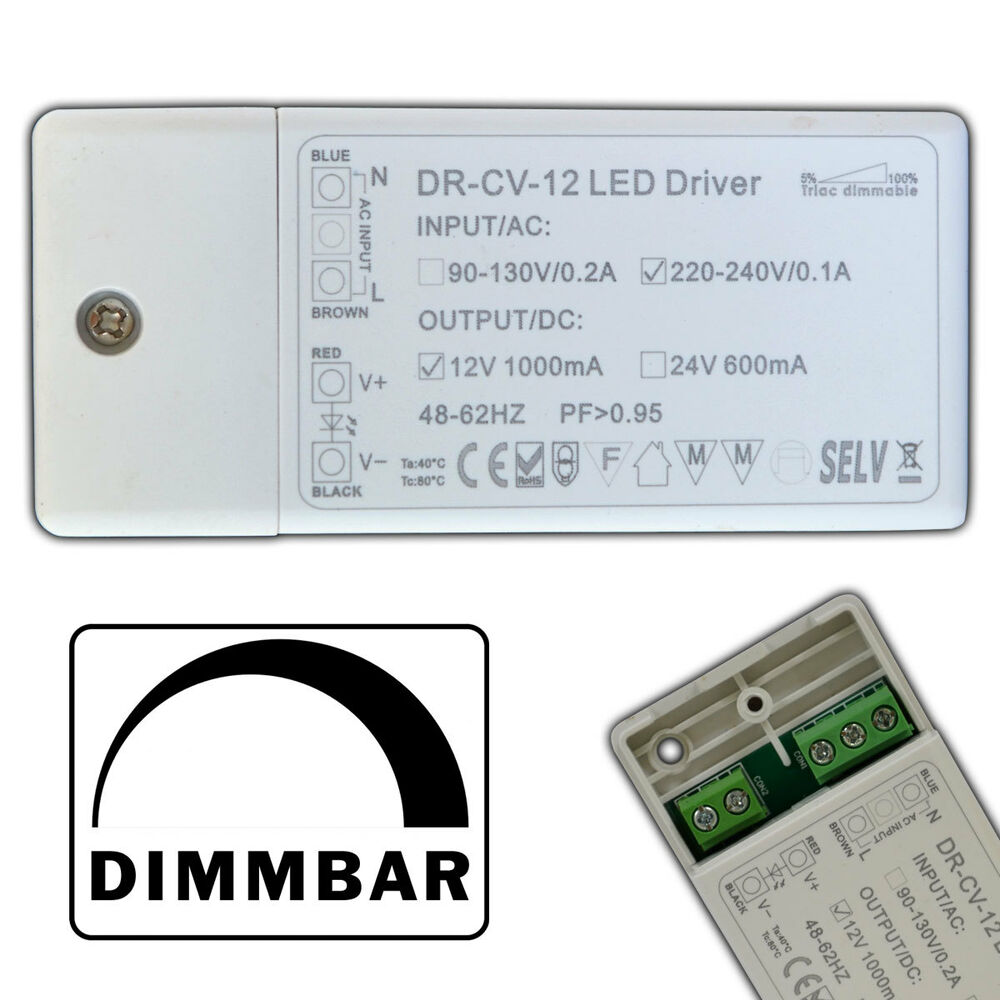 dimmbarer led mini trafo 1 12 watt 12v dc triac dimmer netzteil driver dimmbar ebay. Black Bedroom Furniture Sets. Home Design Ideas