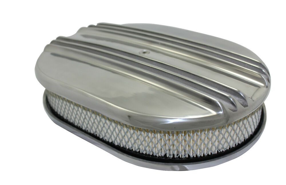 Hot Rod Air Cleaner : Quot oval polished alumunim split finned air cleaner kit