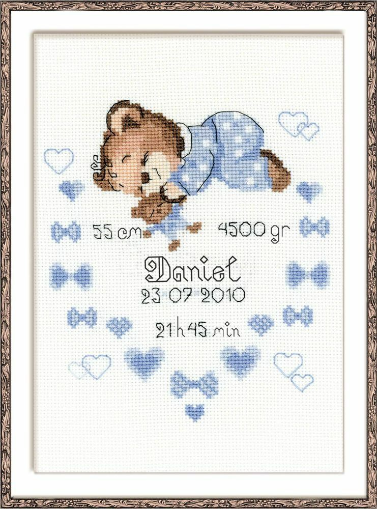 Riolis 1124 Boy Birth Announcement Counted Cross Stitch