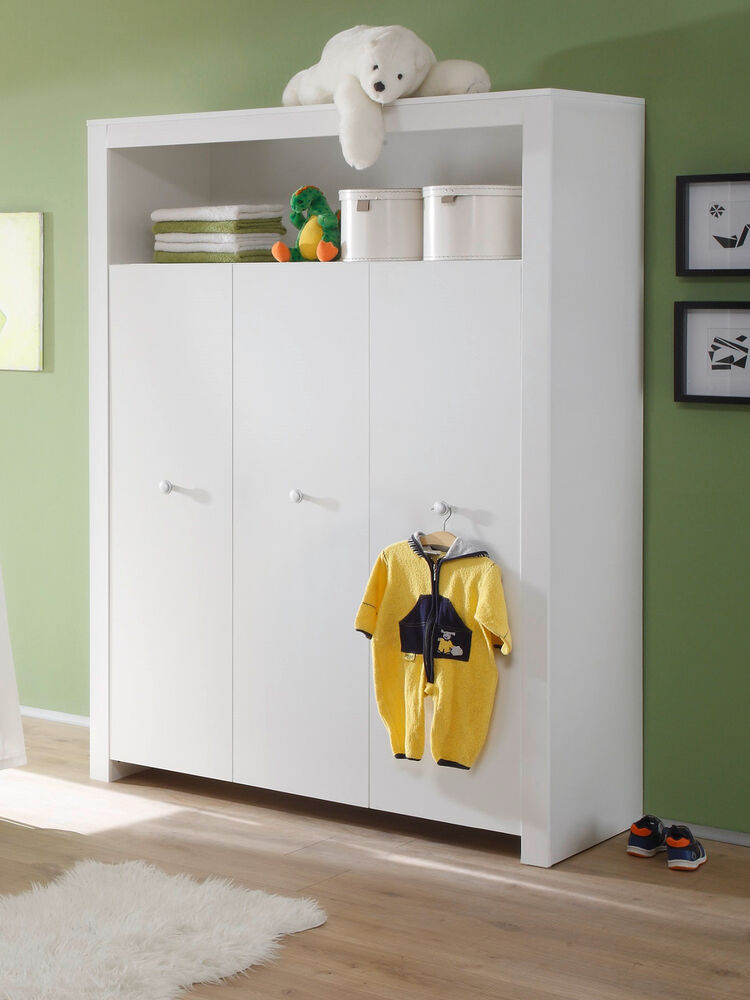 baby kleiderschrank weiss 3 t rig kinder zimmer schrank. Black Bedroom Furniture Sets. Home Design Ideas