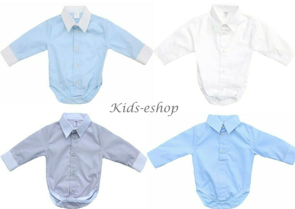 Baby Boy White Smart Shirt Style Formal Bodysuit Body