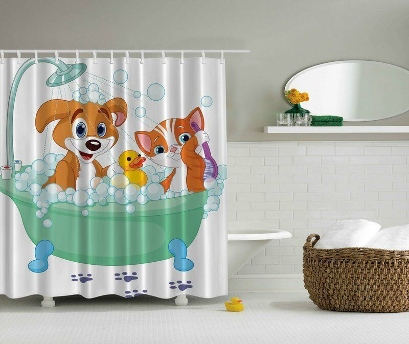 "DOG CAT RUBBER DUCKY BATH 70"" Fabric Bathroom Shower Curtain 