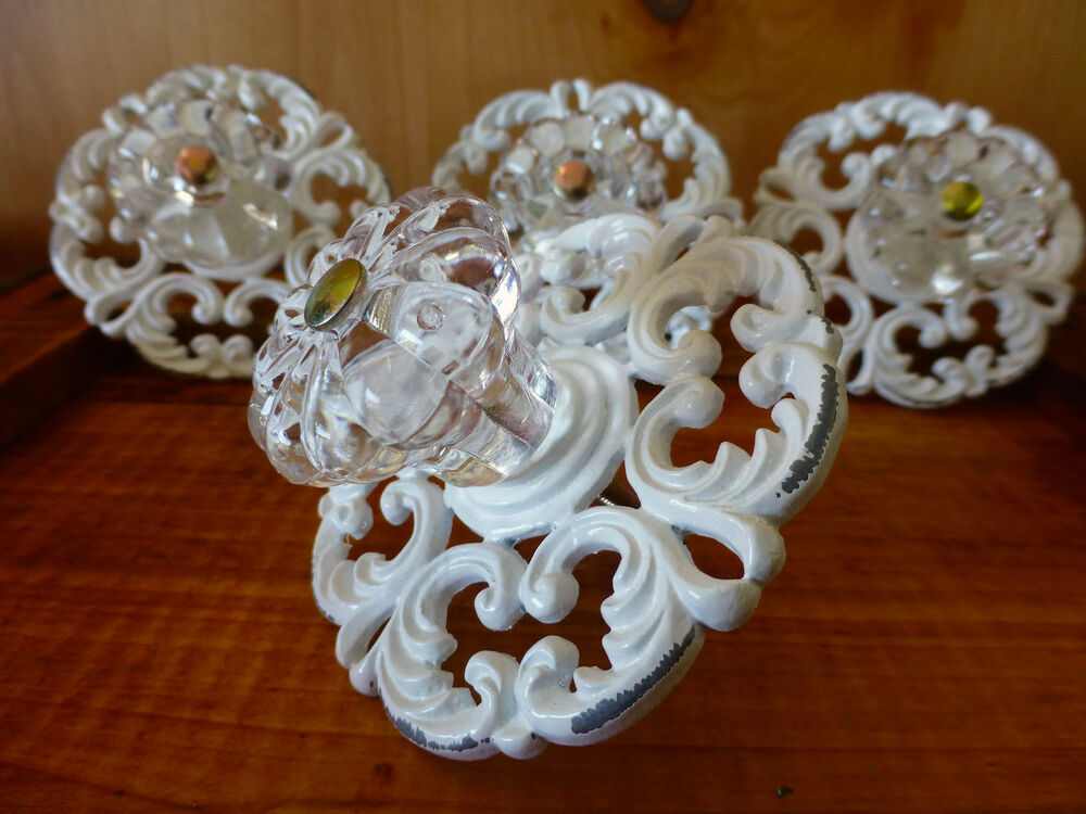 4 White Victorian Drawer Pulls Handles Knobs Vintage